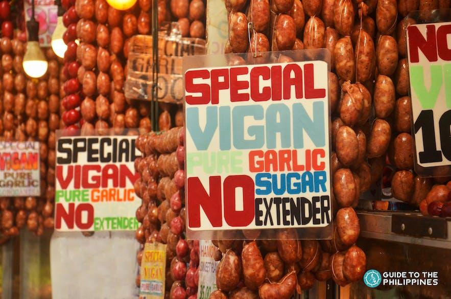 Vigan longganisa in the market of Ilocos