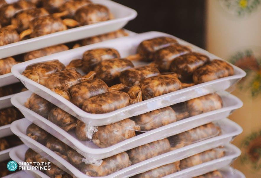 Packed vigan longganisa in Ilocos