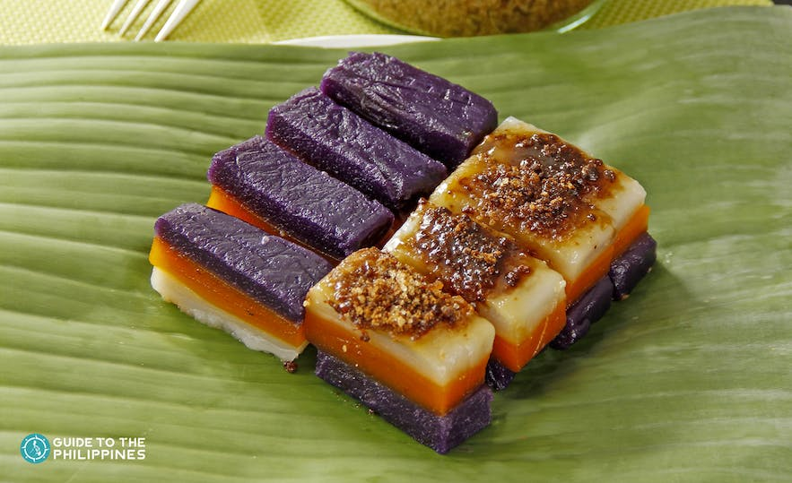 Sapin-sapin is a chewy 3-layered colors of glutinous rice cake in the Philippines