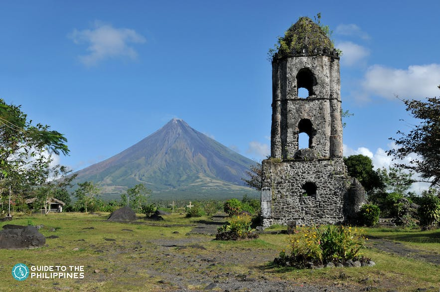 Cagsawa Ruins which can be seen with a background of Mayon Volcano