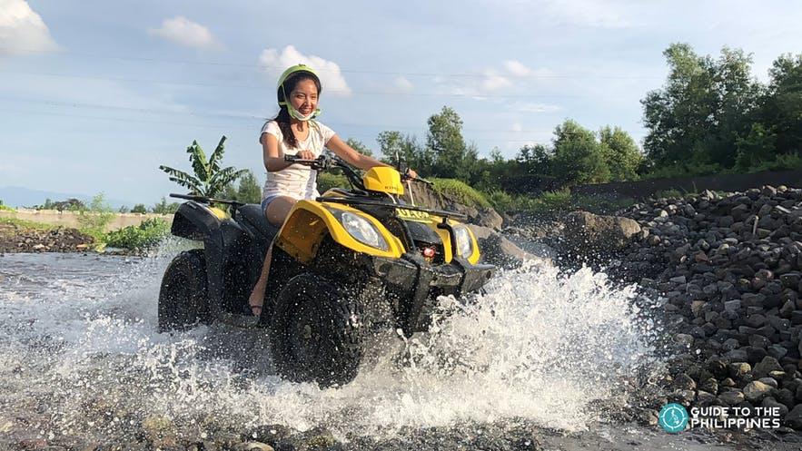 A girl enjoying the ATV Ride in Mayon