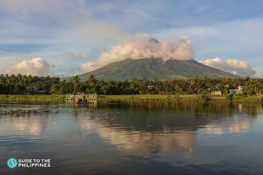 View of Mayon Volcano from Sumlang Lake