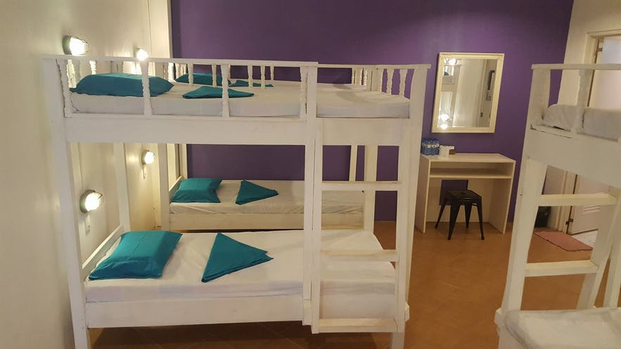 Beds inside a room of La Vida Hostel in Samal Island