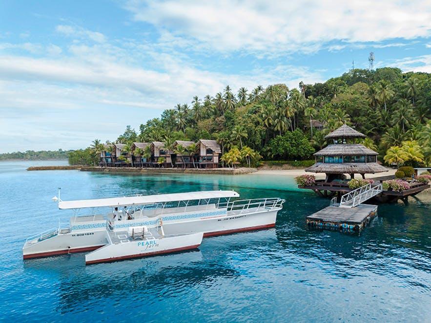 Boat docked in Peal Farm Beach Resort
