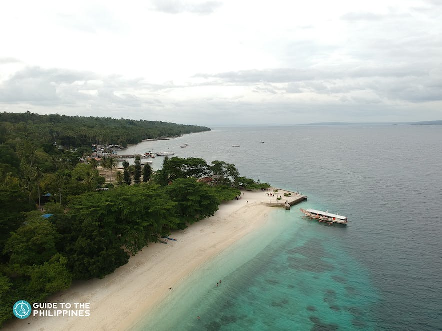 Aerial view of Talicud Island in Samal