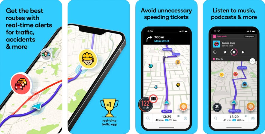 Screenshot of the Waze application on iPhone