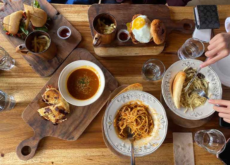 Flat lay of food in a restaurant