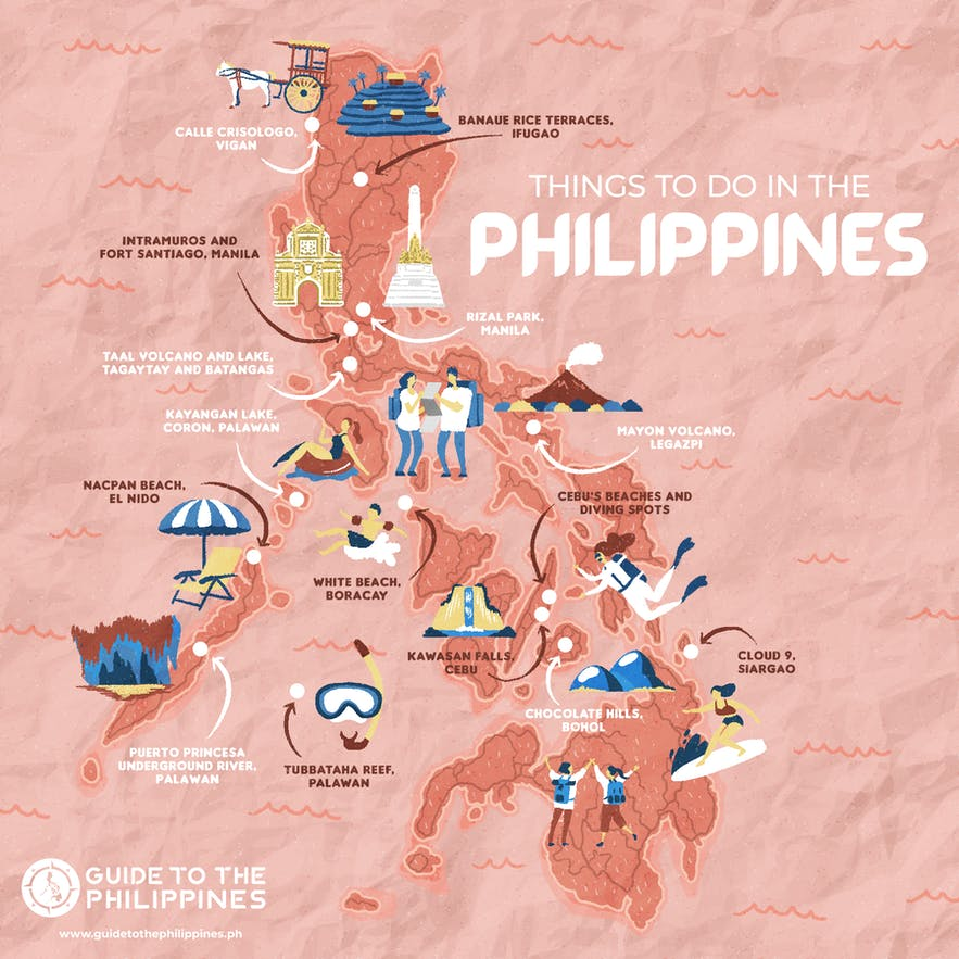Philippines map of top tourist spots