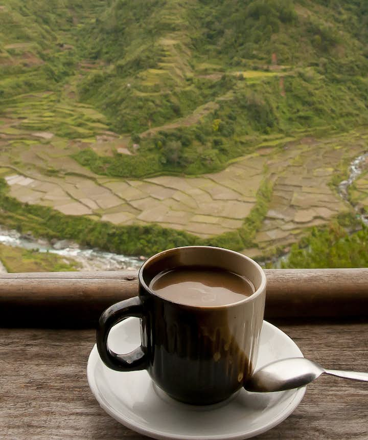 Coffee with a rice terraces view
