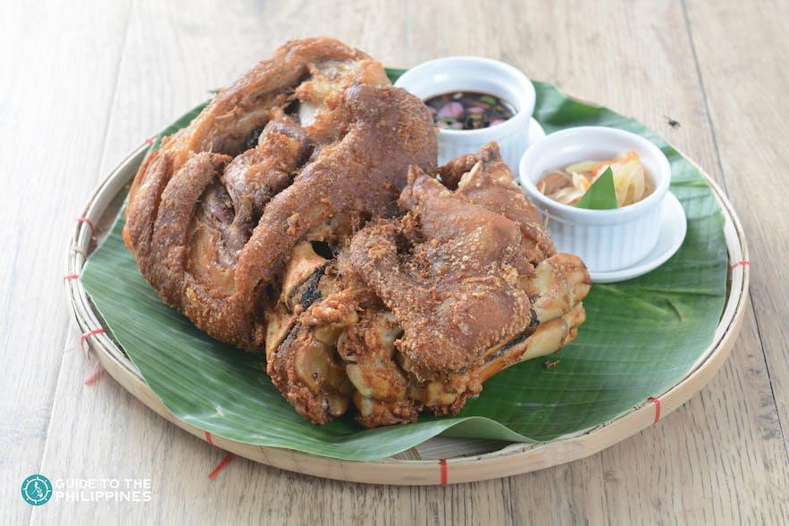 A Filipino dish called crispy pata (pork leg)