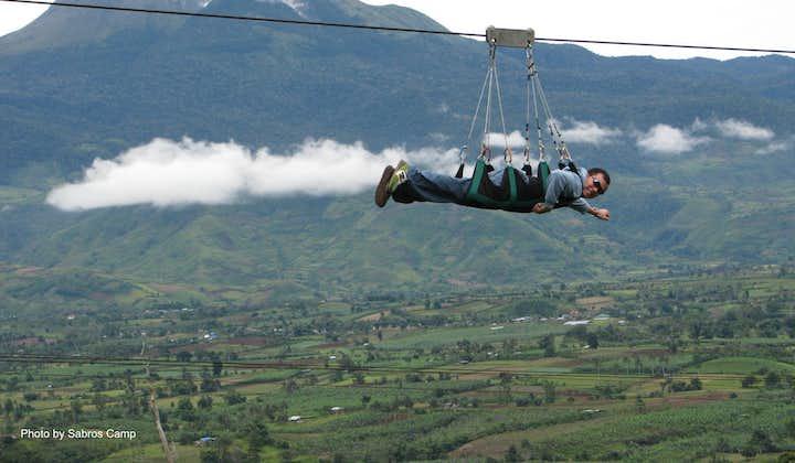 A Man ziplining at Camp Sabros Zip and Cable Lift