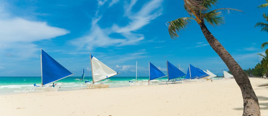 Typical view of White Beach, Boracay