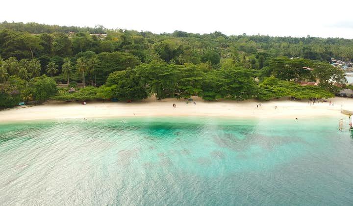 Aerial view of a beach in Talikud Island