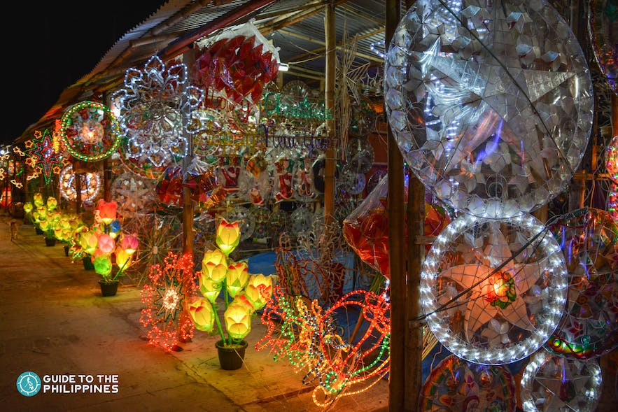 Parol or lanterns lined up on the streets of Pampanga