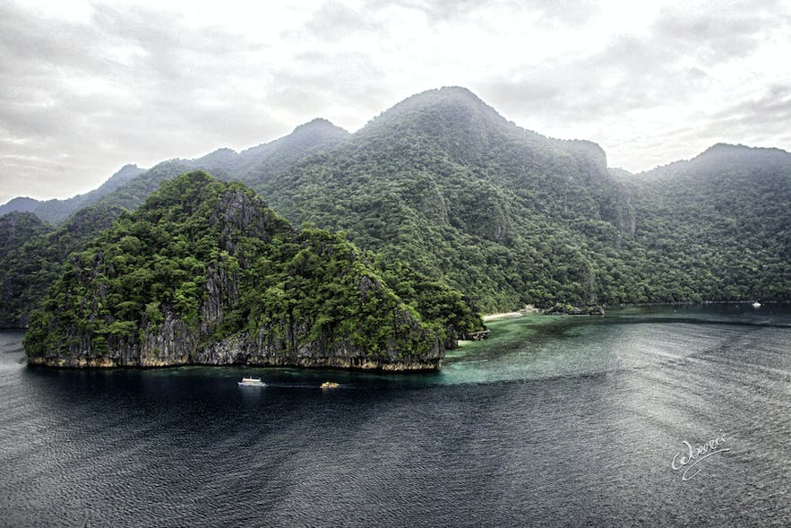 Aerial view of Sangat Island, home to many shipwreck dive spots in Coron