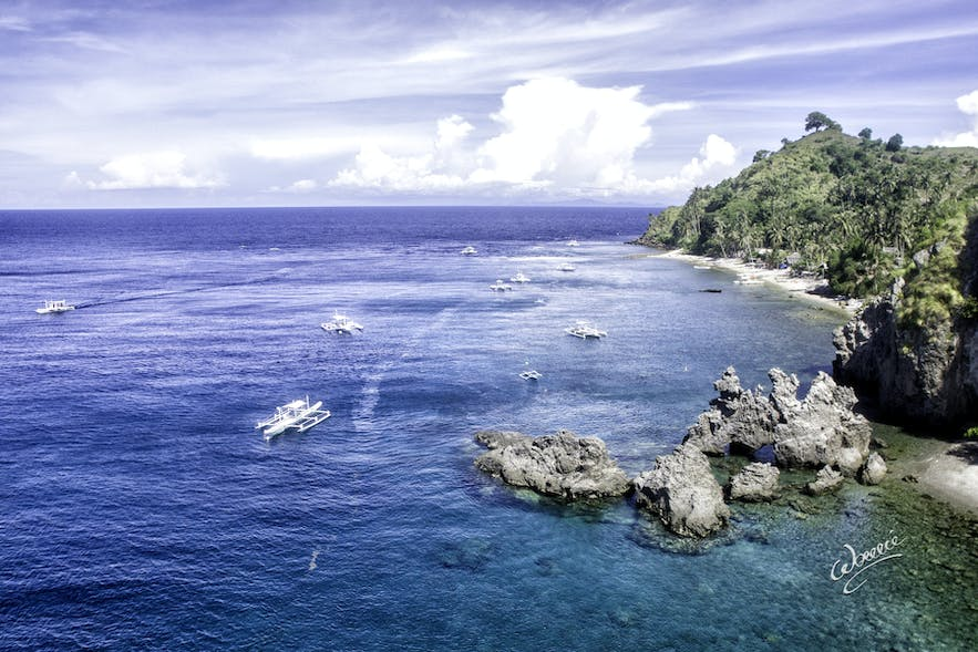 Aerial view of Apo Island in Dumaguete