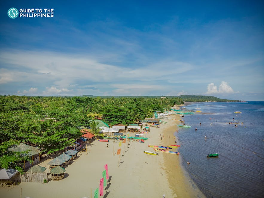 Aerial view of Laiya Beach in Batangas