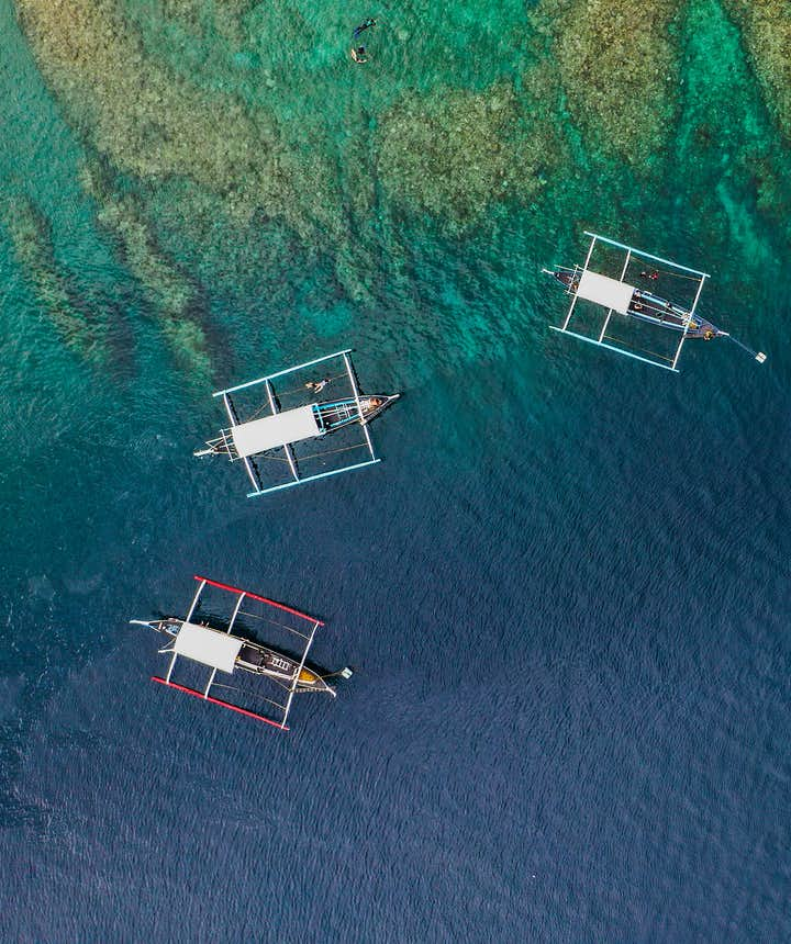 Aerial view of boats in Anilao