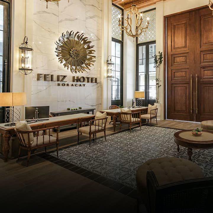 A view of the lounge lobby at Feliz Hotel Boracay