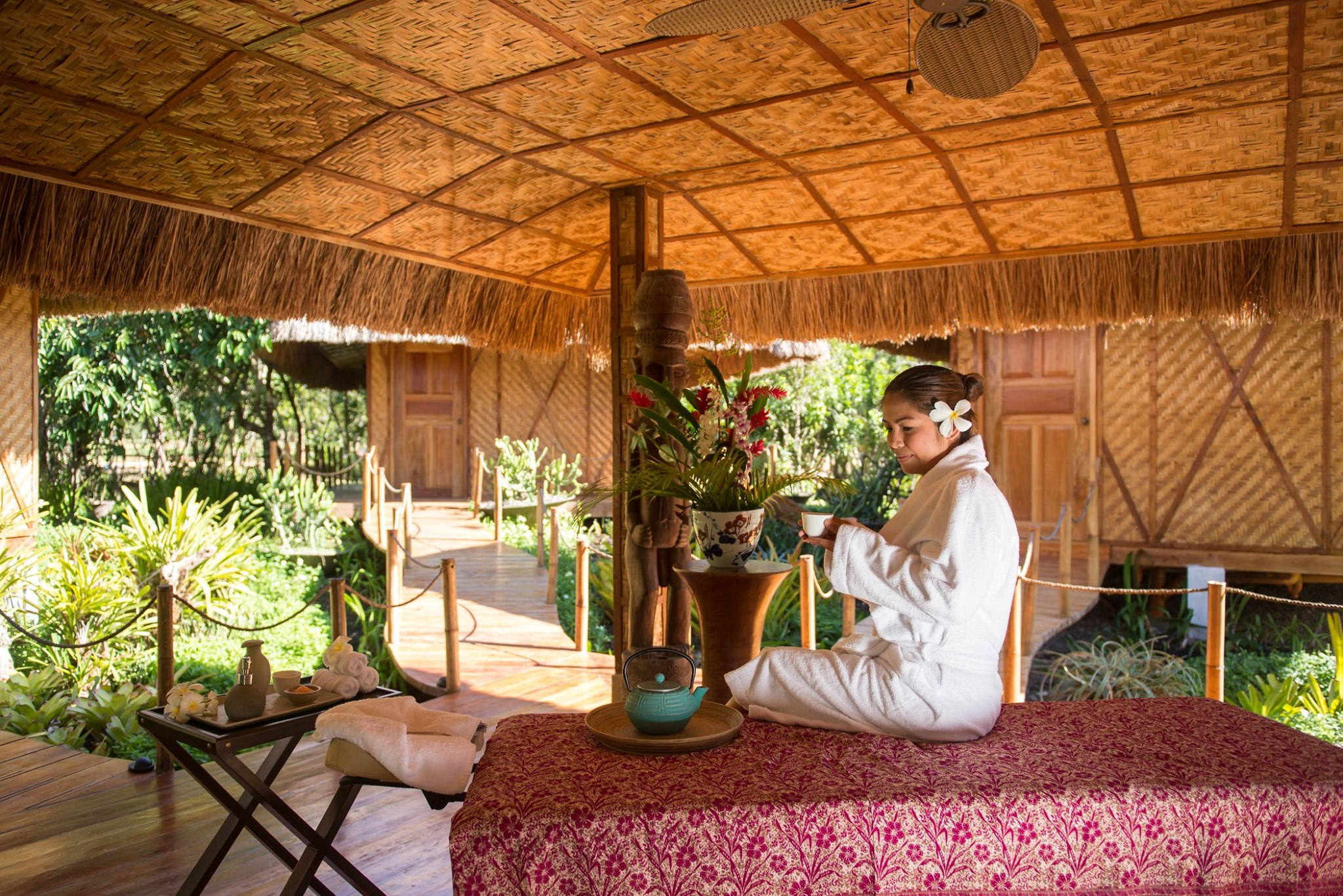 A girl before the start of the Aromatherapy massage in Donatela Resort and Sanctuary