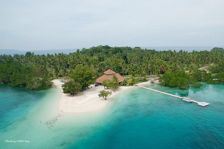 Aerial view of the beautiful Samal Island in Davao