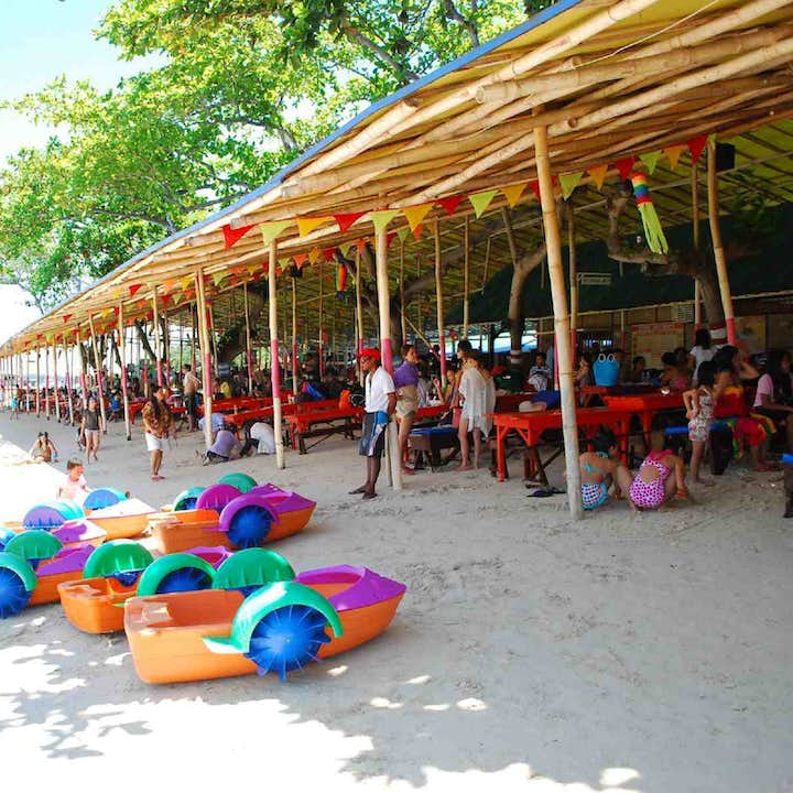 Colorful inflatables in Paradise Beach Resort in Davao