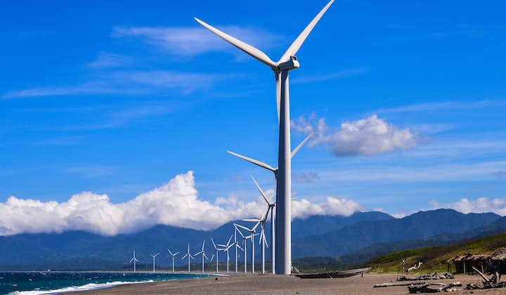 Bangui windmills against the clear blue sky in Ilocos