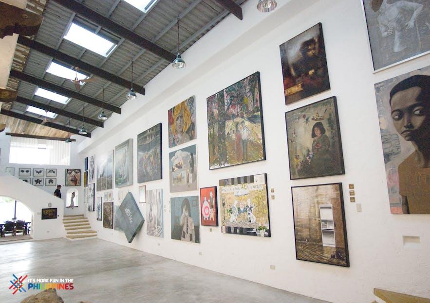 Paintings on display in Pinto Art Museum