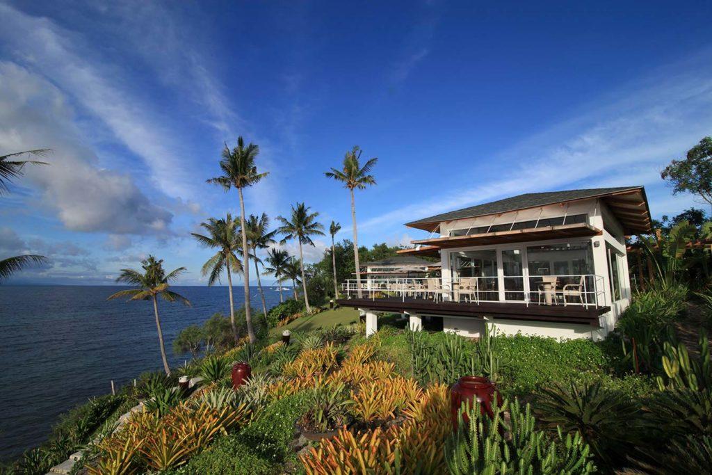 A beautiful view of Donatela Resort against Bohol's clear blue skies