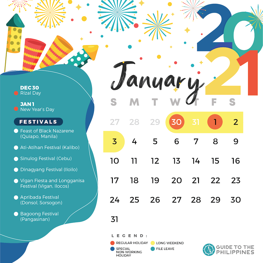 January 2021 holidays and long weekends in the Philippines