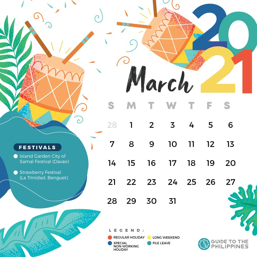March 2021 holidays and long weekends in the Philippines