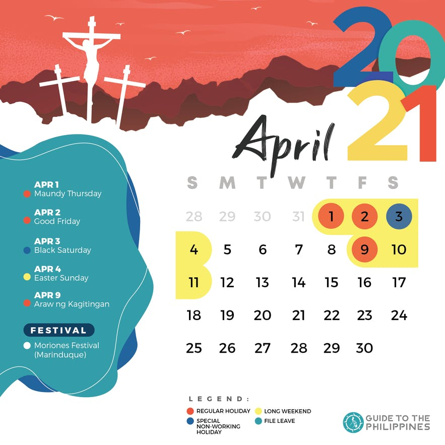 April 2021 holidays and long weekends in the Philippines