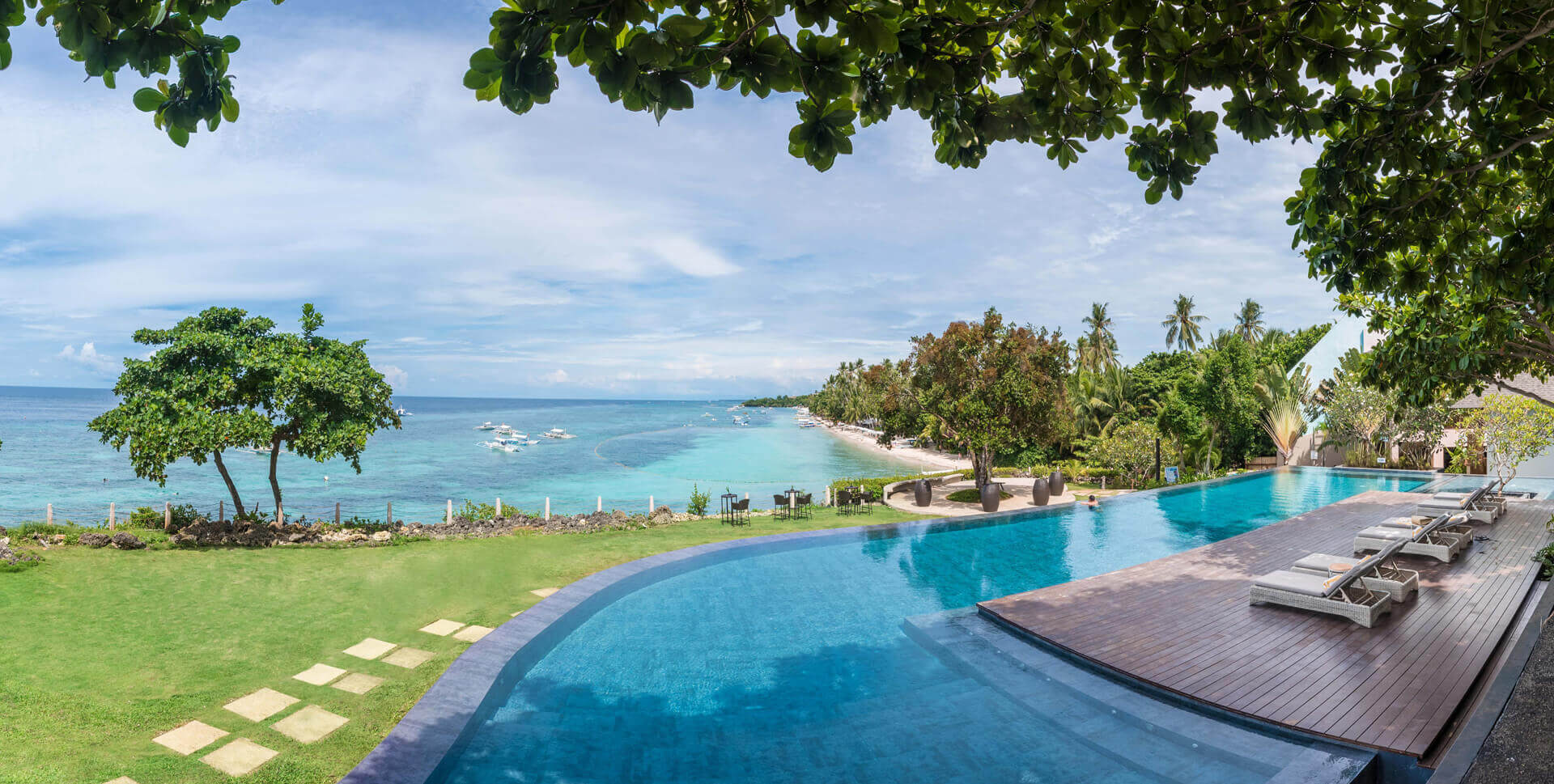 Awesome view of the private beach from Amorita Resort's pool