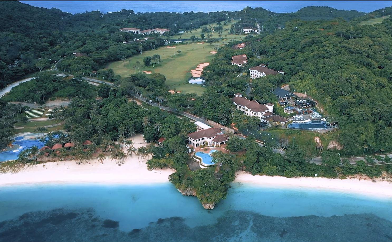Aerial view of Fairways & Bluewater Resort's wide beach area