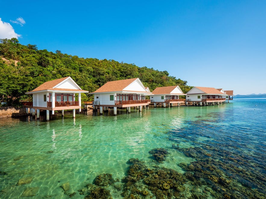 Floating villas of Sunlight Eco Tourism Island Resort