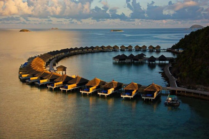 Aerial view of the beautiful Huma Island Resort and Spa
