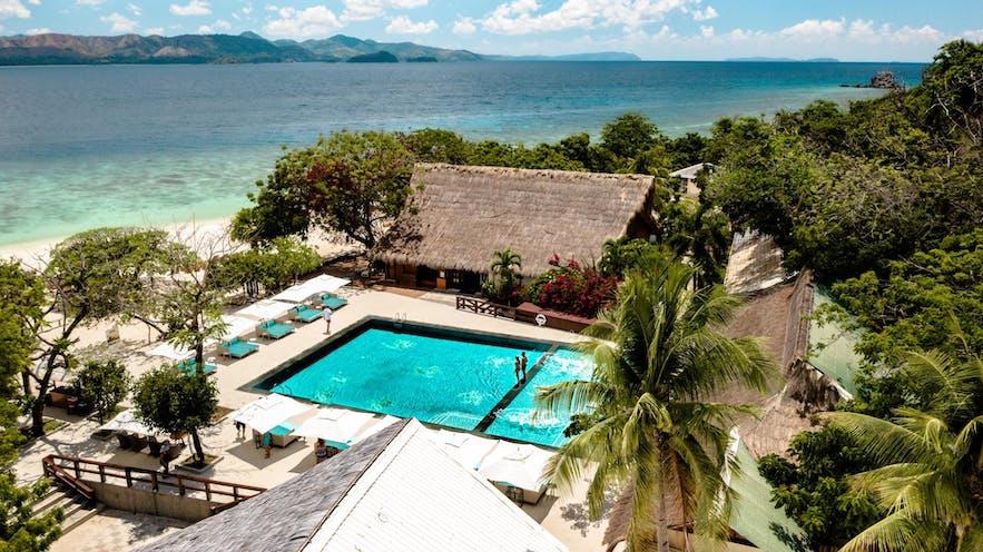 Aerial view of Club Paradise in Coron Palawan
