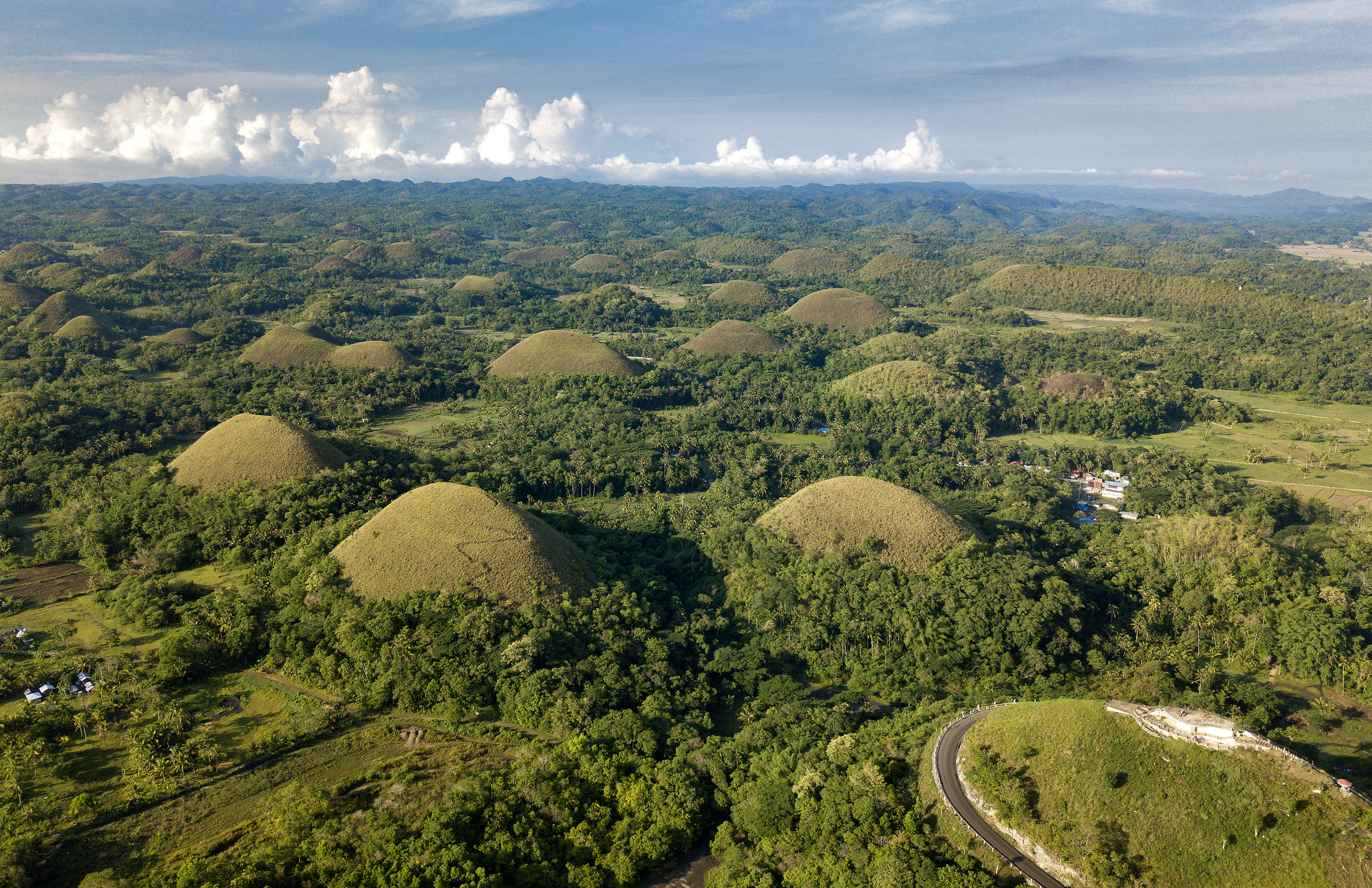 Stunning aerial view of the world-famous Chocolate Hills in Bohol