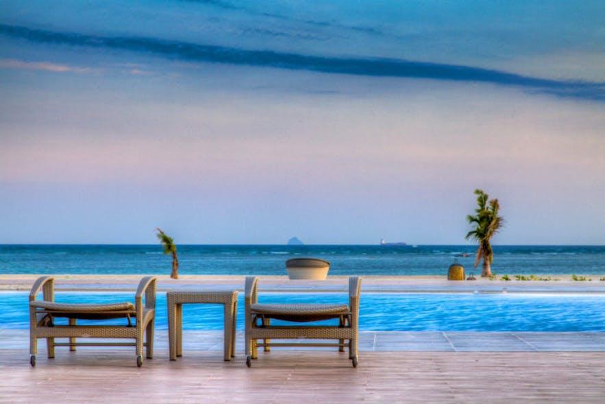 Beautiful ocean view in the pool area of Kandaya Resort