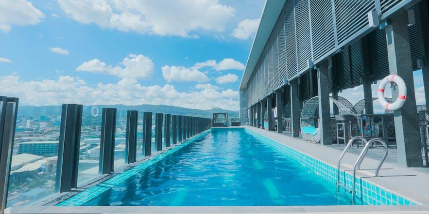 Beautiful rooftop pool of bai Hotel Cebu