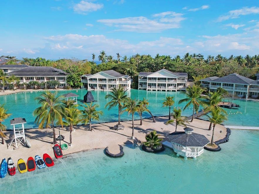 Villas and pool area of Plantation Bay Resort and Spa