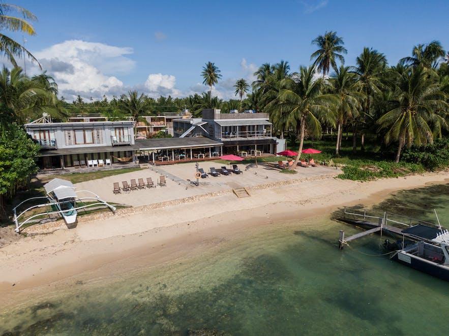 Aerial view of Reef Beach Resort in Siargao