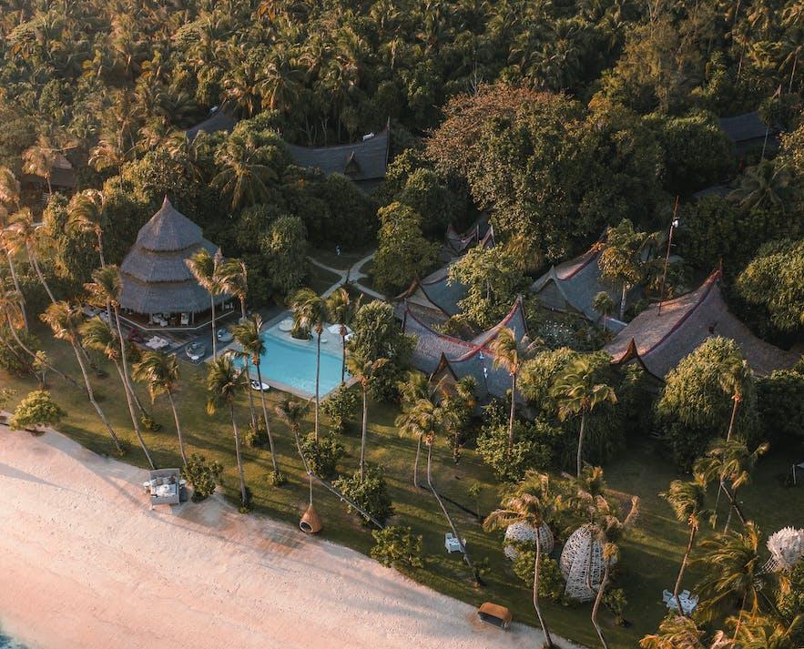 Aerial view of Nay Palad, beautiful luxury resort in Siargao