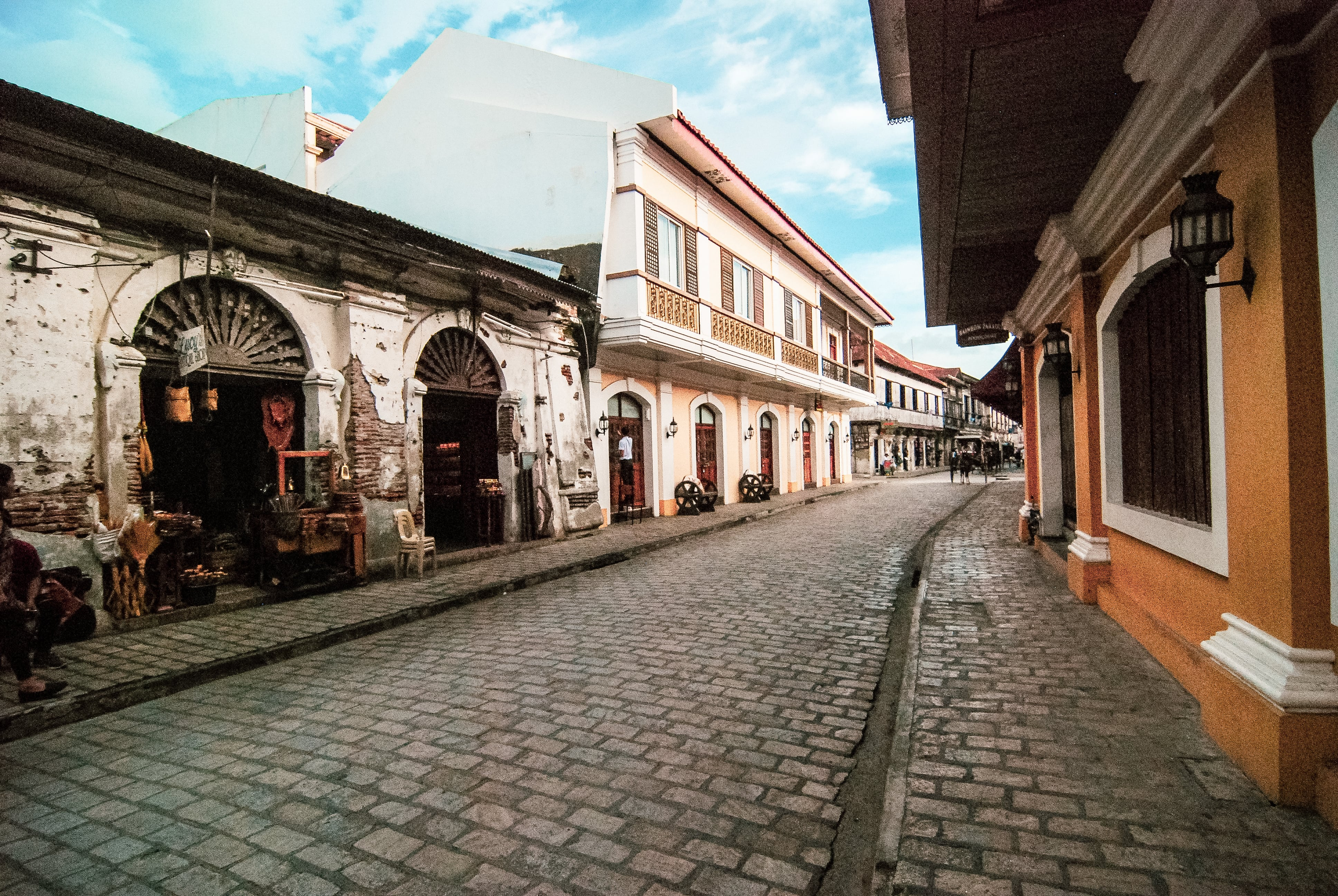 Spanish-style streets of Calle Crisologo which are popular among travellers