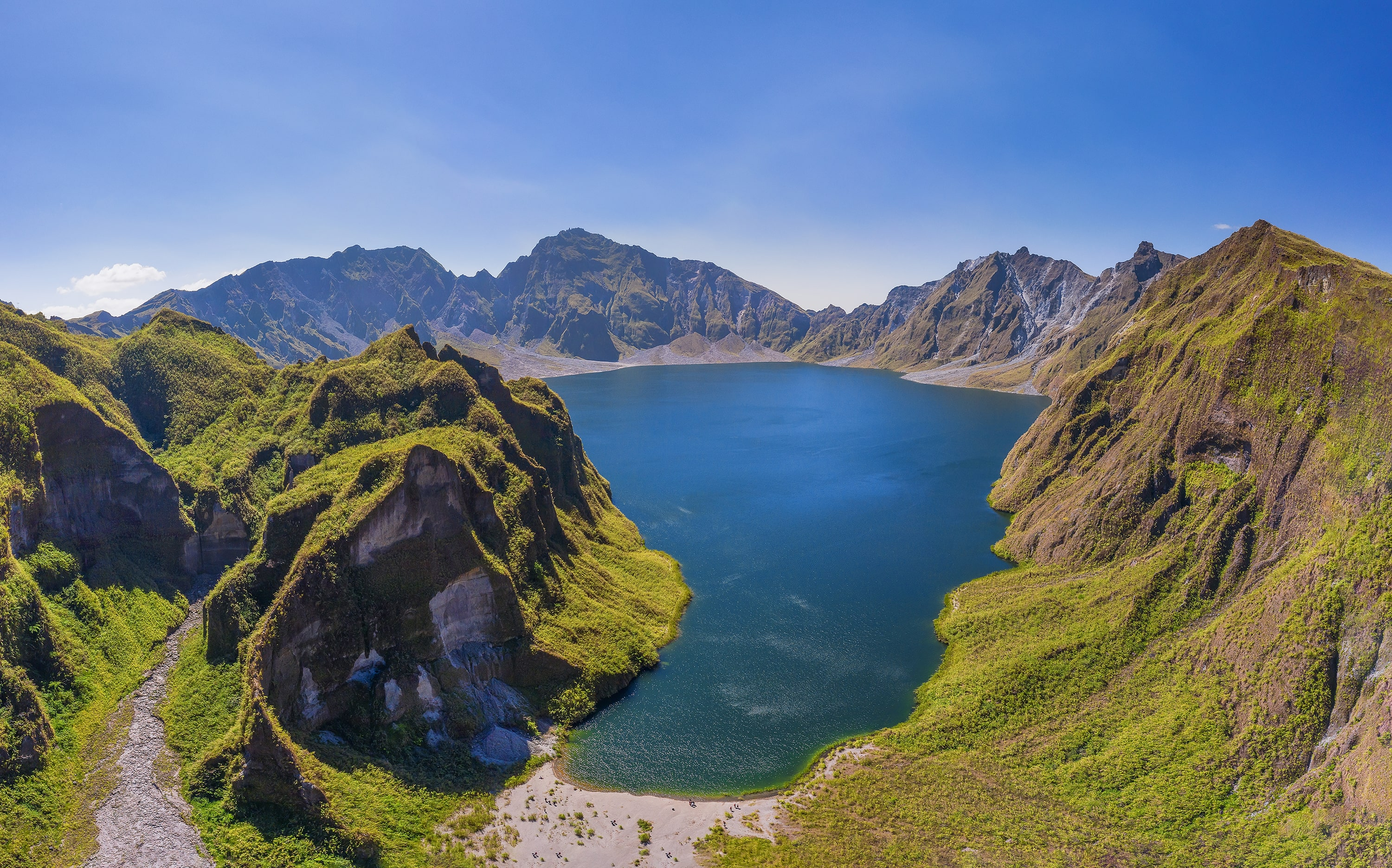 Aerial shot of the stunning landscape of Mt. Pinatubo Crater Lake