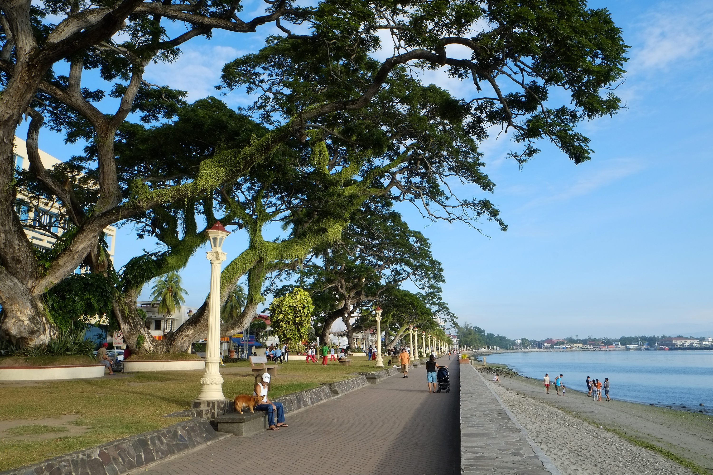 People relaxing in the benches of Rizal Boulevard in Dumaguete