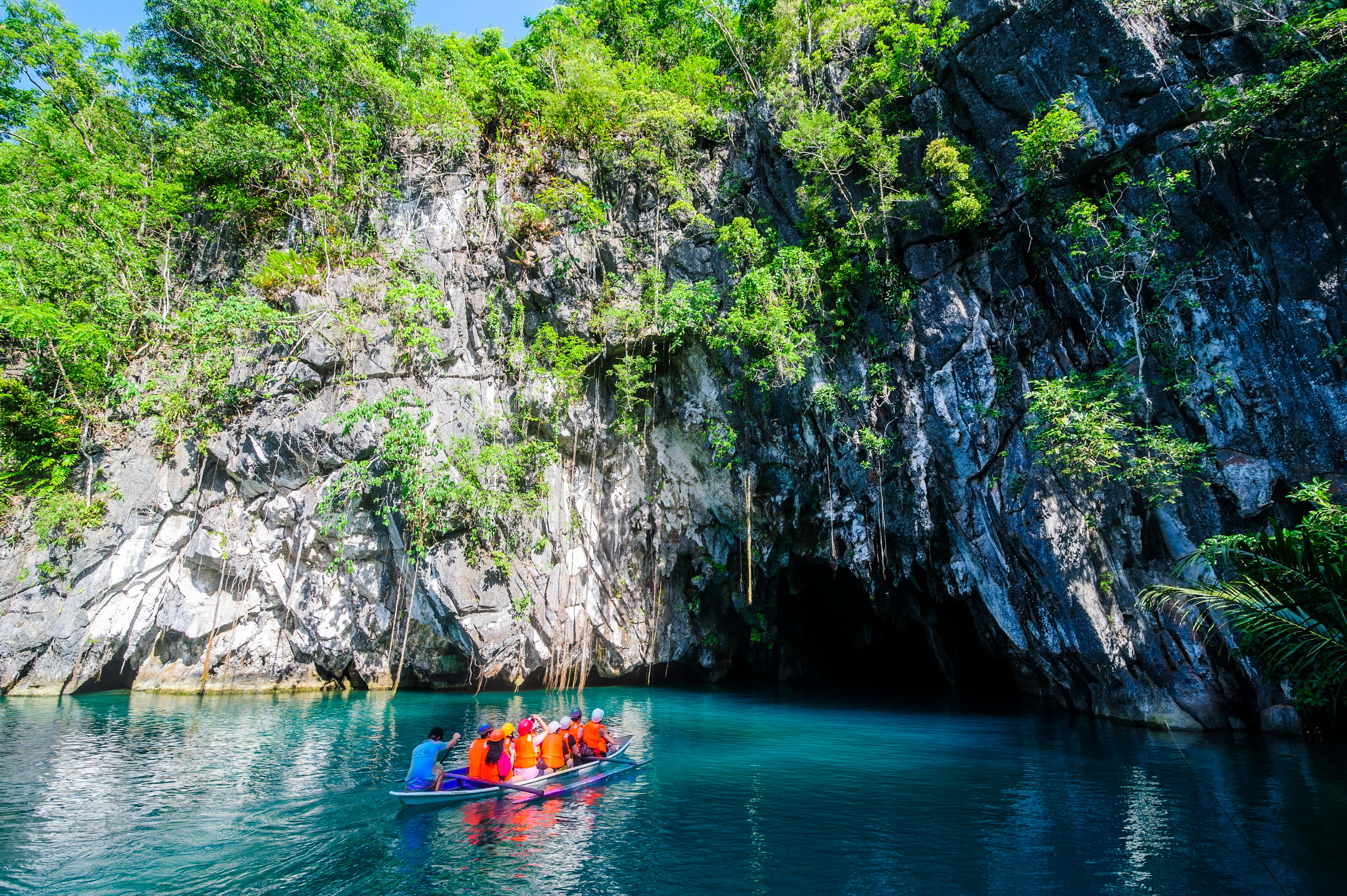 A boat full of travelers about to explore Puerto Princesa Underground River