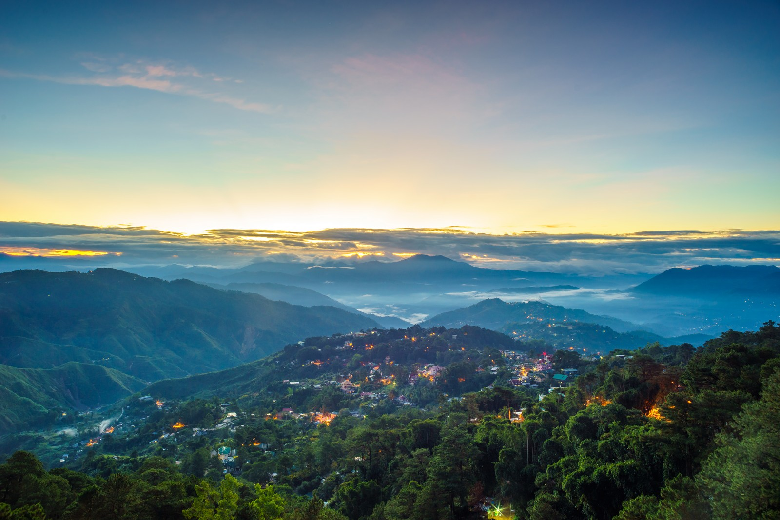 Amazing view of Baguio City during sunset from Mines View Park