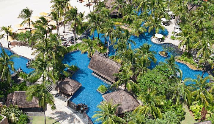 Pool and beach aerial view of Shangri-La Boracay Resort