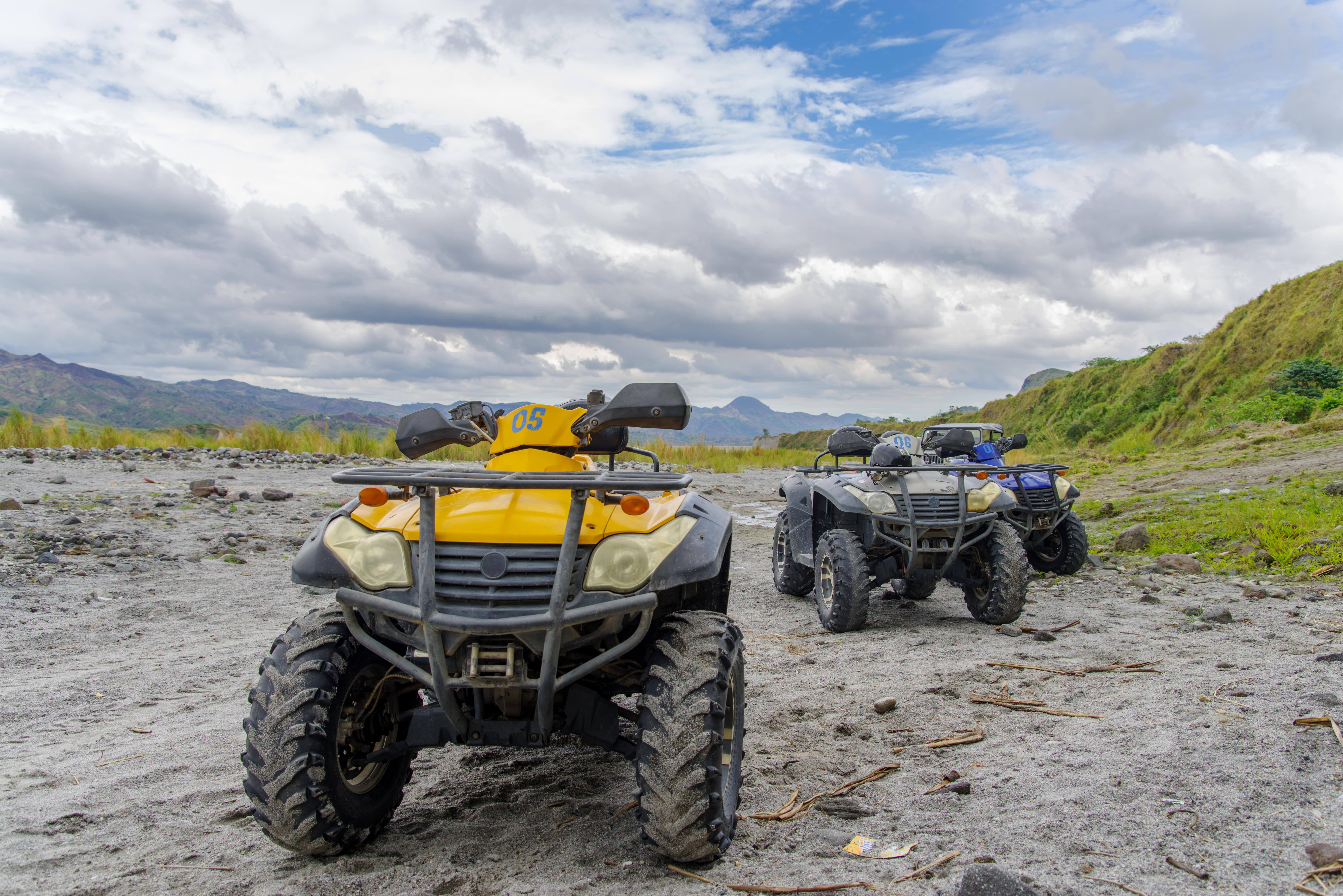 4x4 ATV parked at the foot of Mt. Pinatubo